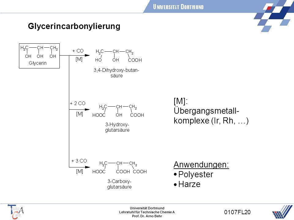 Universität Dortmund Lehrstuhl für Technische Chemie A Prof. Dr. Arno Behr 0107FL20 Glycerincarbonylierung [M]: Übergangsmetall- komplexe (Ir, Rh, …)