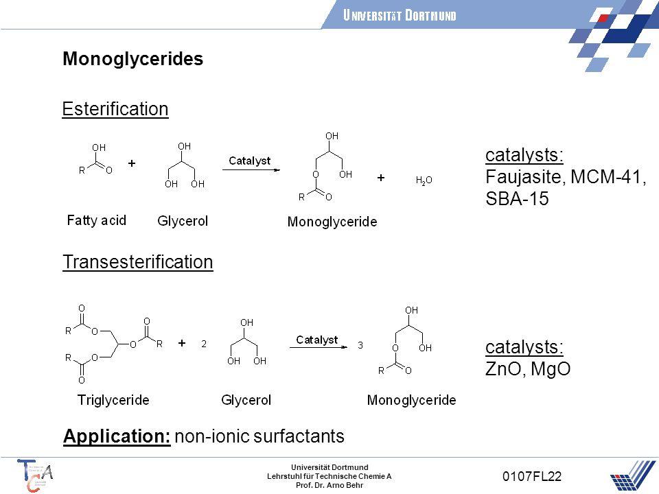 Universität Dortmund Lehrstuhl für Technische Chemie A Prof. Dr. Arno Behr 0107FL22 Monoglycerides Transesterification Application: non-ionic surfacta