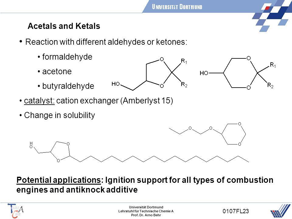 Universität Dortmund Lehrstuhl für Technische Chemie A Prof. Dr. Arno Behr 0107FL23 Acetals and Ketals Reaction with different aldehydes or ketones: f