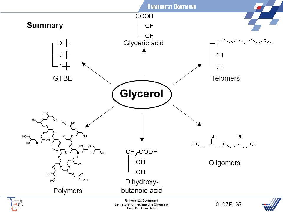 Universität Dortmund Lehrstuhl für Technische Chemie A Prof. Dr. Arno Behr 0107FL25 Summary Glycerol Polymers GTBETelomers Oligomers Glyceric acid Dih