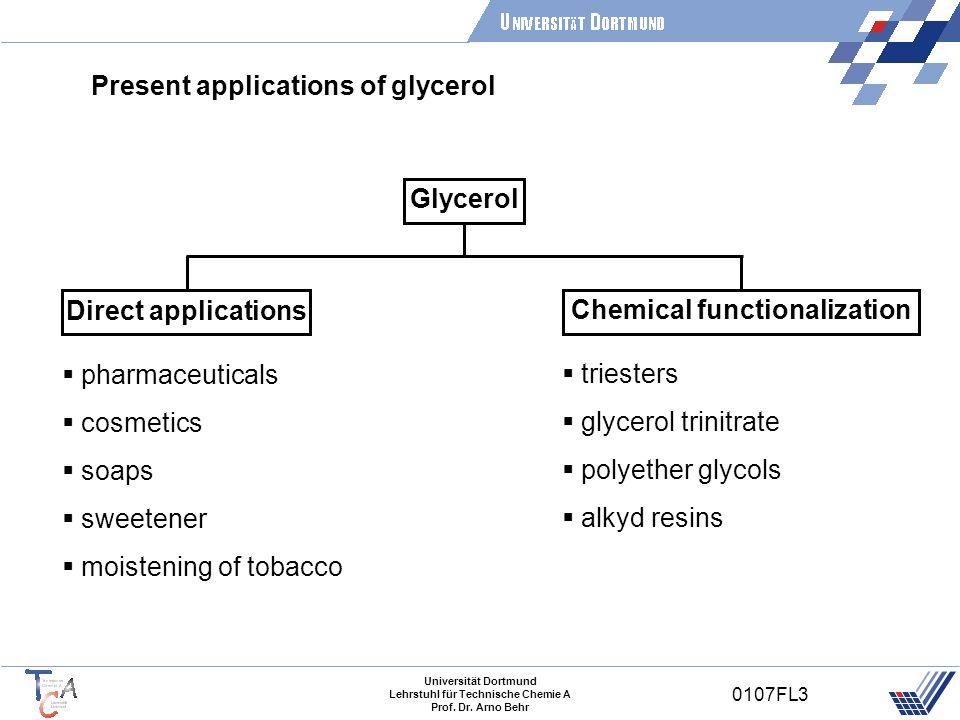 Universität Dortmund Lehrstuhl für Technische Chemie A Prof. Dr. Arno Behr 0107FL3 Present applications of glycerol Glycerol Direct applications Chemi