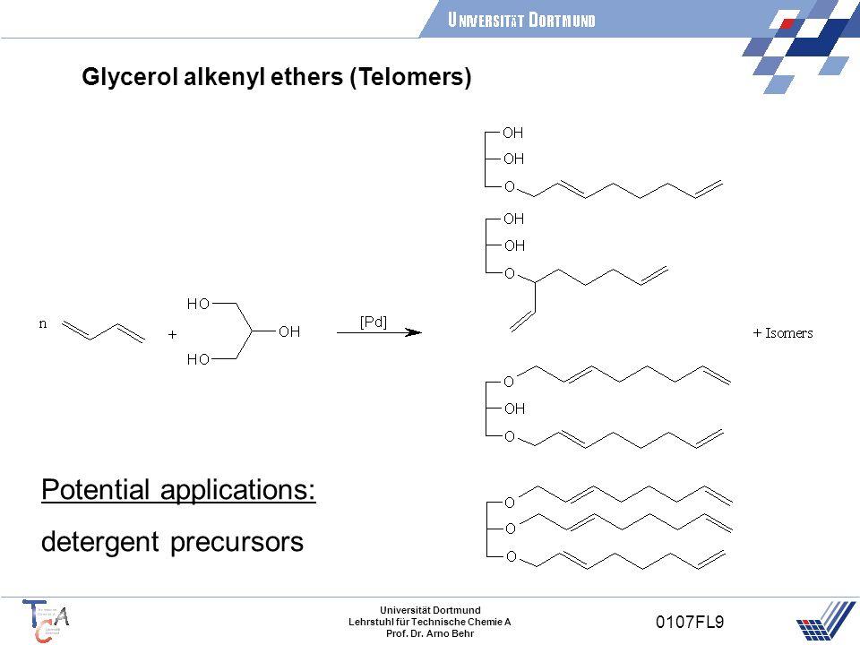 Universität Dortmund Lehrstuhl für Technische Chemie A Prof. Dr. Arno Behr 0107FL9 Glycerol alkenyl ethers (Telomers) Potential applications: detergen