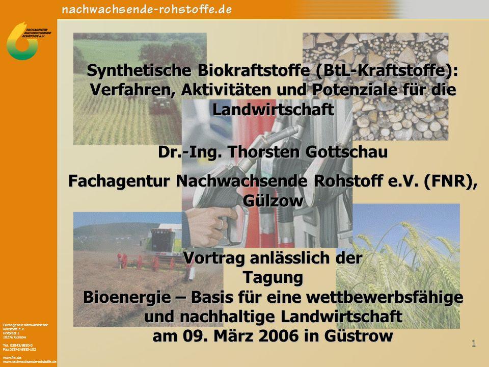 Fachagentur Nachwachsende Rohstoffe e.V. Hofplatz 1 18276 Gülzow Tel. 03843/6930-0 Fax 03843/6930-102 www.fnr.de www.nachwachsende-rohstoffe.de 1 Synt