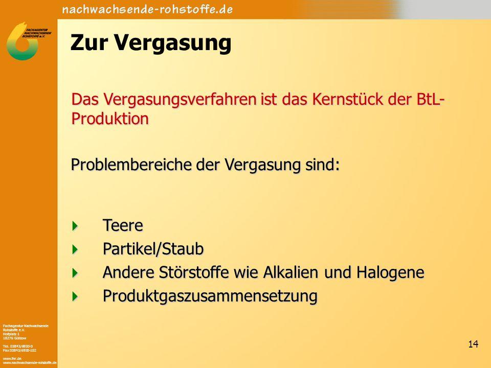Fachagentur Nachwachsende Rohstoffe e.V. Hofplatz 1 18276 Gülzow Tel. 03843/6930-0 Fax 03843/6930-102 www.fnr.de www.nachwachsende-rohstoffe.de 14 Zur
