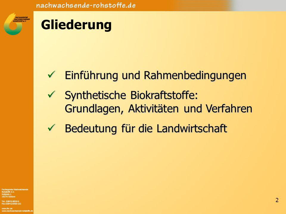 Fachagentur Nachwachsende Rohstoffe e.V. Hofplatz 1 18276 Gülzow Tel. 03843/6930-0 Fax 03843/6930-102 www.fnr.de www.nachwachsende-rohstoffe.de 2 Glie
