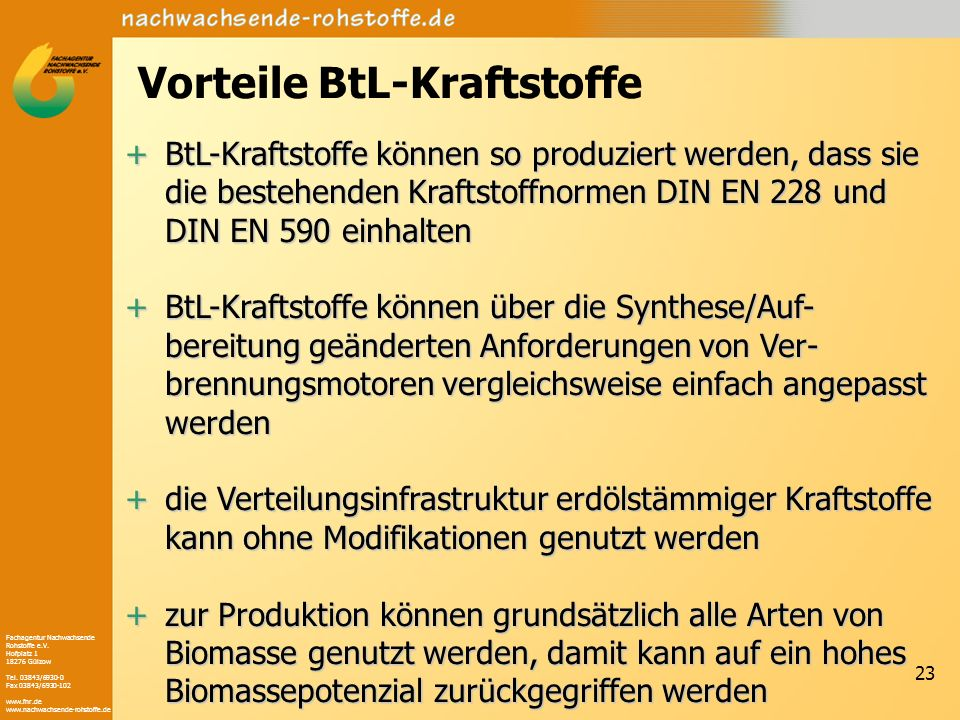Fachagentur Nachwachsende Rohstoffe e.V. Hofplatz 1 18276 Gülzow Tel. 03843/6930-0 Fax 03843/6930-102 www.fnr.de www.nachwachsende-rohstoffe.de 23 Vor