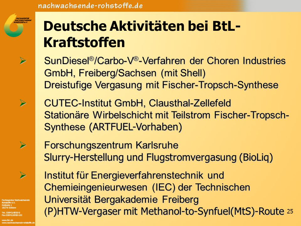 Fachagentur Nachwachsende Rohstoffe e.V. Hofplatz 1 18276 Gülzow Tel. 03843/6930-0 Fax 03843/6930-102 www.fnr.de www.nachwachsende-rohstoffe.de 25 Deu