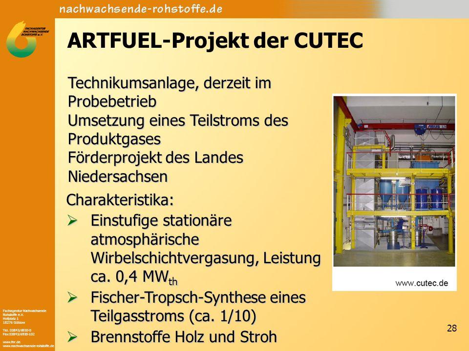 Fachagentur Nachwachsende Rohstoffe e.V. Hofplatz 1 18276 Gülzow Tel. 03843/6930-0 Fax 03843/6930-102 www.fnr.de www.nachwachsende-rohstoffe.de 28 ART