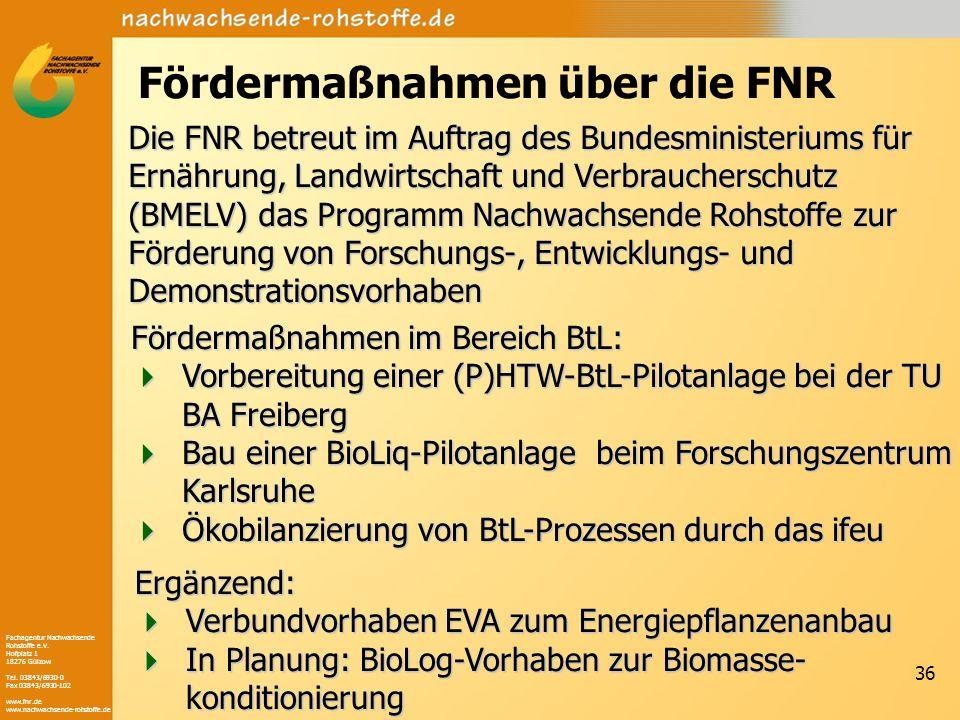 Fachagentur Nachwachsende Rohstoffe e.V. Hofplatz 1 18276 Gülzow Tel. 03843/6930-0 Fax 03843/6930-102 www.fnr.de www.nachwachsende-rohstoffe.de 36 För