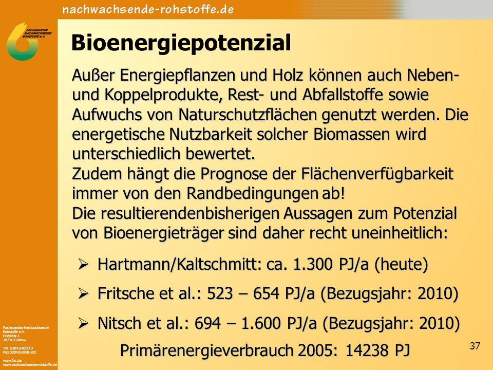 Fachagentur Nachwachsende Rohstoffe e.V. Hofplatz 1 18276 Gülzow Tel. 03843/6930-0 Fax 03843/6930-102 www.fnr.de www.nachwachsende-rohstoffe.de 37 Bio
