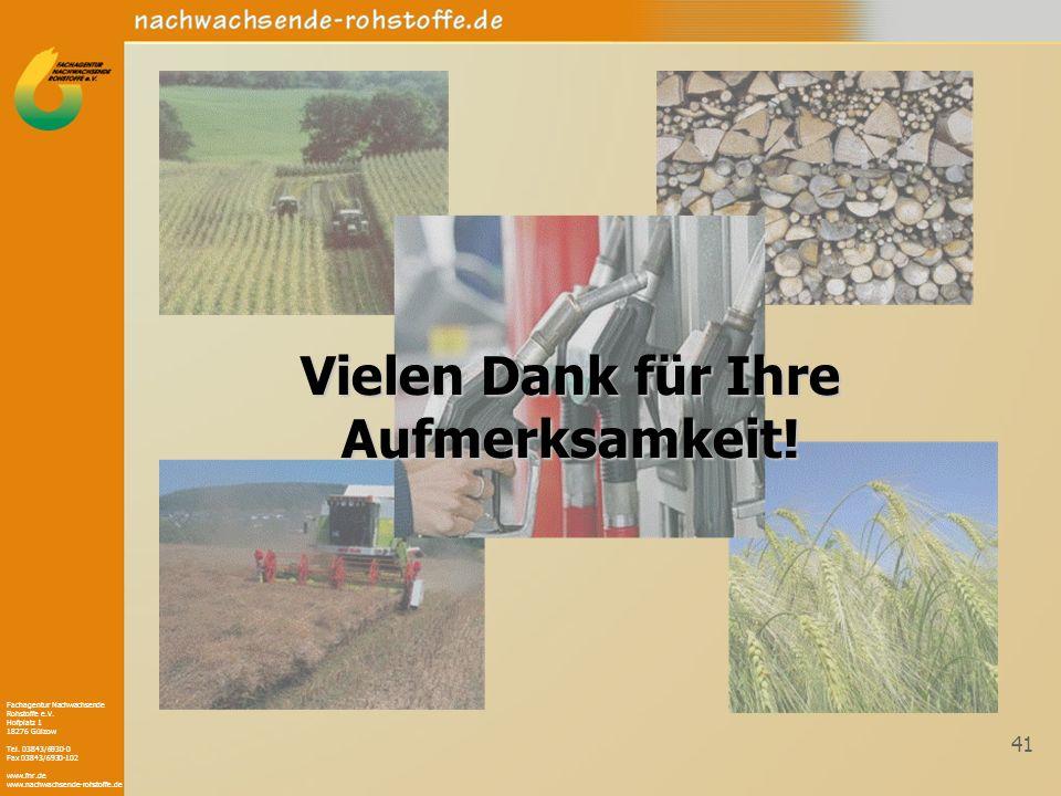 Fachagentur Nachwachsende Rohstoffe e.V. Hofplatz 1 18276 Gülzow Tel. 03843/6930-0 Fax 03843/6930-102 www.fnr.de www.nachwachsende-rohstoffe.de 41 Vie