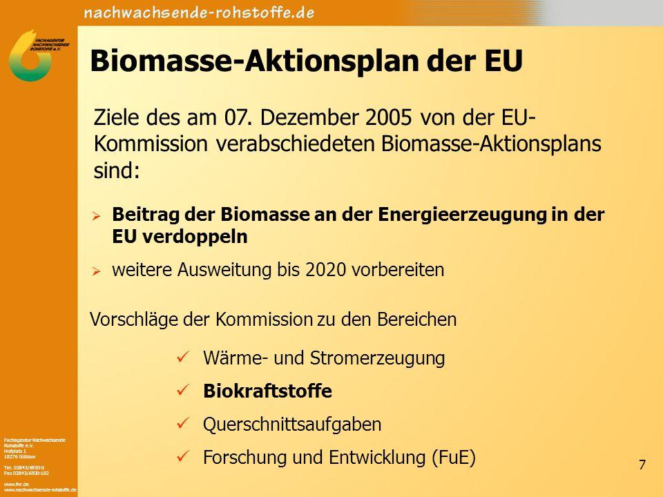 Fachagentur Nachwachsende Rohstoffe e.V. Hofplatz 1 18276 Gülzow Tel. 03843/6930-0 Fax 03843/6930-102 www.fnr.de www.nachwachsende-rohstoffe.de 7 Biom