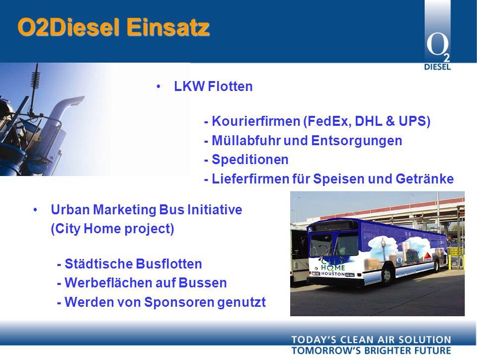 LKW Flotten - Kourierfirmen (FedEx, DHL & UPS) - Müllabfuhr und Entsorgungen - Speditionen - Lieferfirmen für Speisen und Getränke Urban Marketing Bus Initiative (City Home project) - Städtische Busflotten - Werbeflächen auf Bussen - Werden von Sponsoren genutzt O2Diesel Einsatz