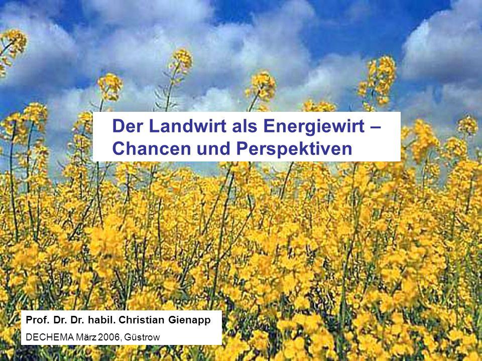 Landesforschungsanstalt für Landwirtschaft und Fischerei MV Prof. Dr. Dr. habil. Ch. Gienapp 02/2006 Der Landwirt als Energiewirt – Chancen und Perspe