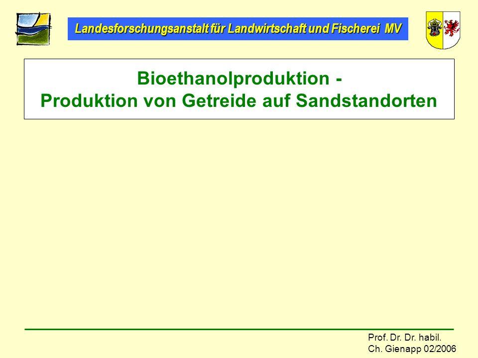 Landesforschungsanstalt für Landwirtschaft und Fischerei MV Prof. Dr. Dr. habil. Ch. Gienapp 02/2006 Bioethanolproduktion - Produktion von Getreide au