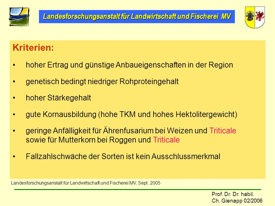 Landesforschungsanstalt für Landwirtschaft und Fischerei MV Prof. Dr. Dr. habil. Ch. Gienapp 02/2006 Kriterien: hoher Ertrag und günstige Anbaueigensc