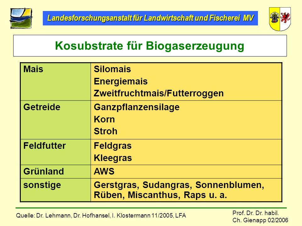 Landesforschungsanstalt für Landwirtschaft und Fischerei MV Prof. Dr. Dr. habil. Ch. Gienapp 02/2006 Kosubstrate für Biogaserzeugung MaisSilomais Ener