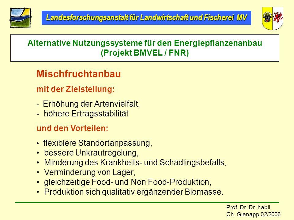 Landesforschungsanstalt für Landwirtschaft und Fischerei MV Prof. Dr. Dr. habil. Ch. Gienapp 02/2006 Alternative Nutzungssysteme für den Energiepflanz