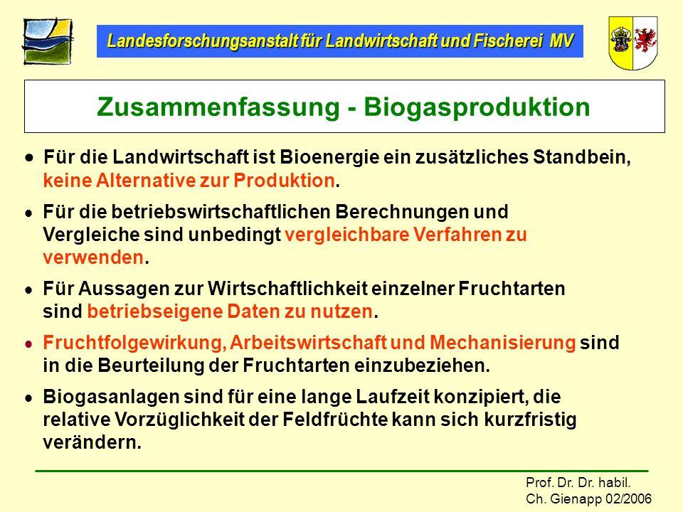 Landesforschungsanstalt für Landwirtschaft und Fischerei MV Prof. Dr. Dr. habil. Ch. Gienapp 02/2006 Für die Landwirtschaft ist Bioenergie ein zusätzl