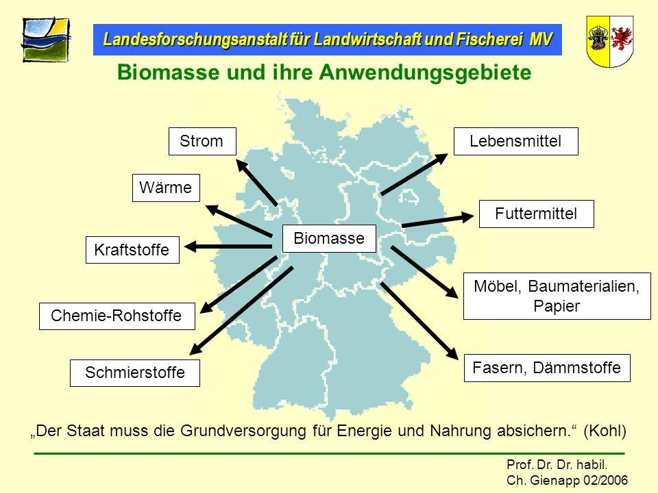 Landesforschungsanstalt für Landwirtschaft und Fischerei MV Prof. Dr. Dr. habil. Ch. Gienapp 02/2006 Biomasse und ihre Anwendungsgebiete Strom Wärme K