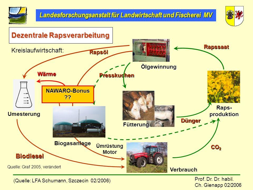 Landesforschungsanstalt für Landwirtschaft und Fischerei MV Prof. Dr. Dr. habil. Ch. Gienapp 02/2006 Dezentrale Rapsverarbeitung Umesterung Raps- prod