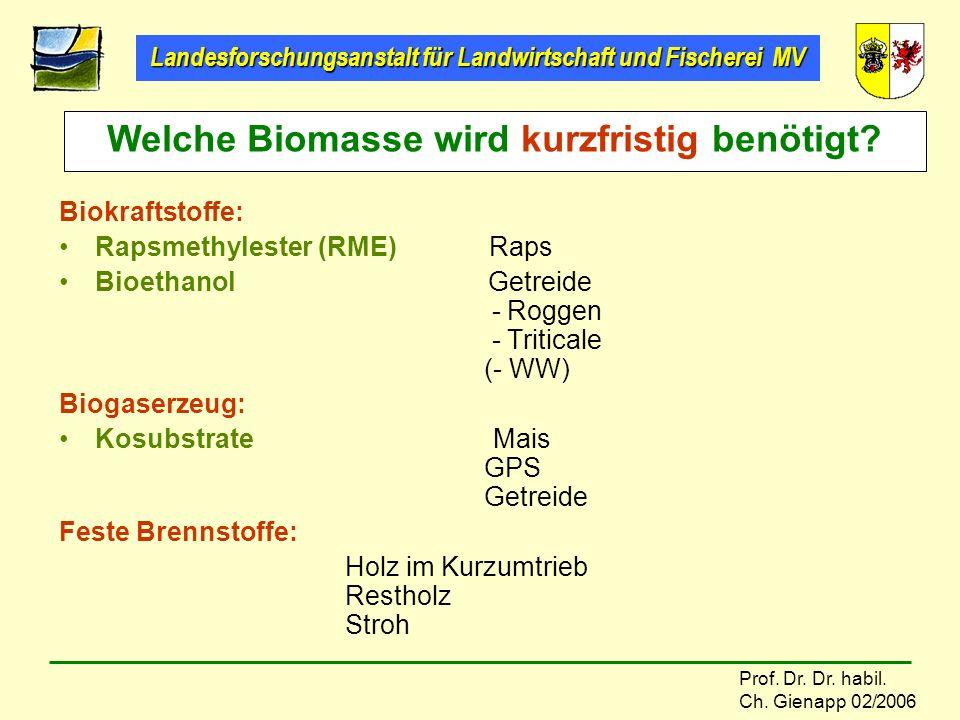 Landesforschungsanstalt für Landwirtschaft und Fischerei MV Prof. Dr. Dr. habil. Ch. Gienapp 02/2006 Biokraftstoffe: Rapsmethylester (RME) Raps Bioeth