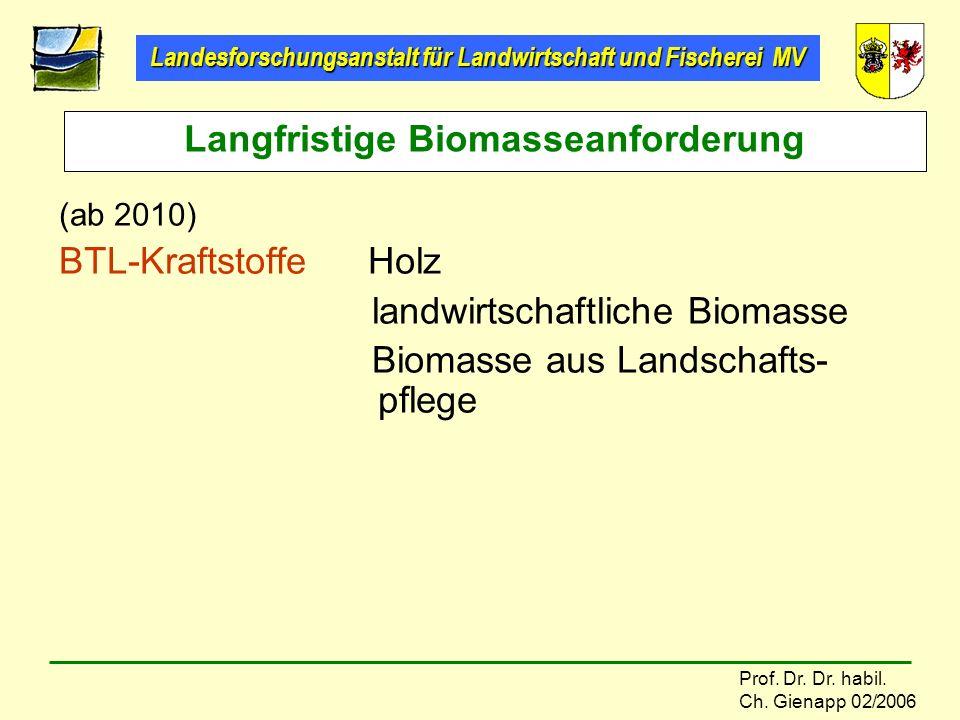 Landesforschungsanstalt für Landwirtschaft und Fischerei MV Prof. Dr. Dr. habil. Ch. Gienapp 02/2006 (ab 2010) BTL-Kraftstoffe Holz landwirtschaftlich