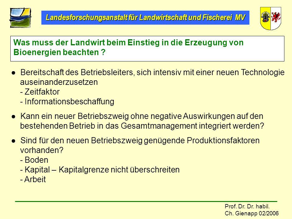 Landesforschungsanstalt für Landwirtschaft und Fischerei MV Prof. Dr. Dr. habil. Ch. Gienapp 02/2006 Was muss der Landwirt beim Einstieg in die Erzeug