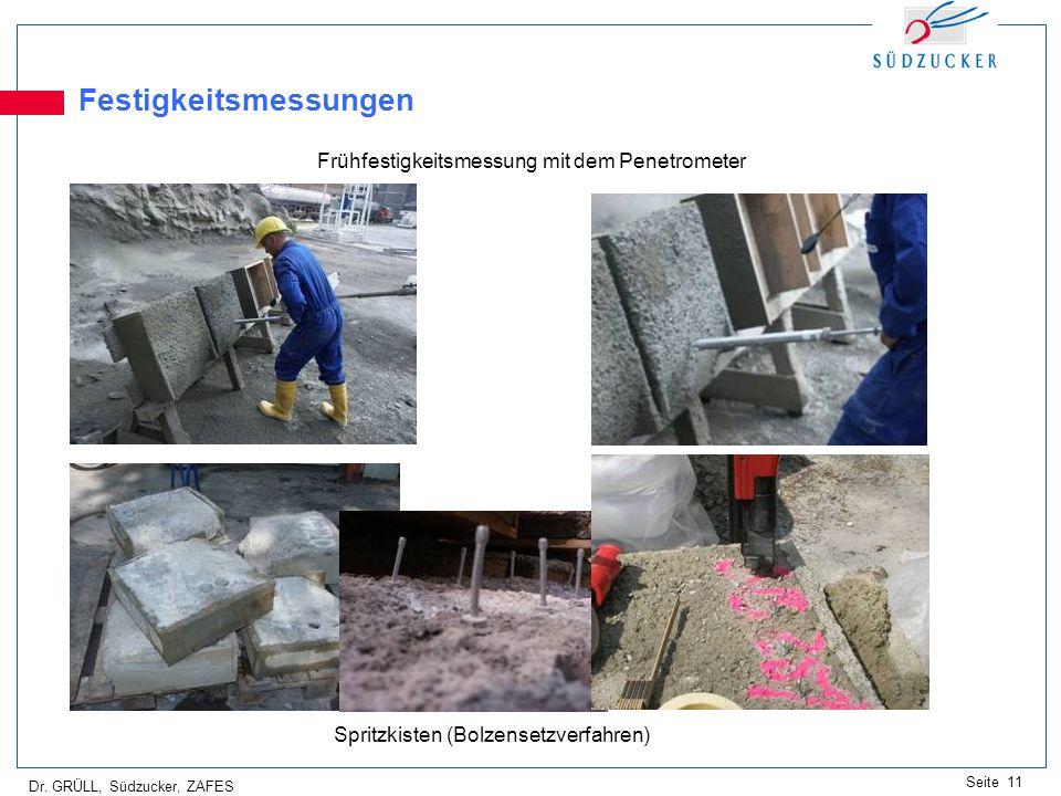 Dr. GRÜLL, Südzucker, ZAFES Seite 11 Festigkeitsmessungen Frühfestigkeitsmessung mit dem Penetrometer Spritzkisten (Bolzensetzverfahren)