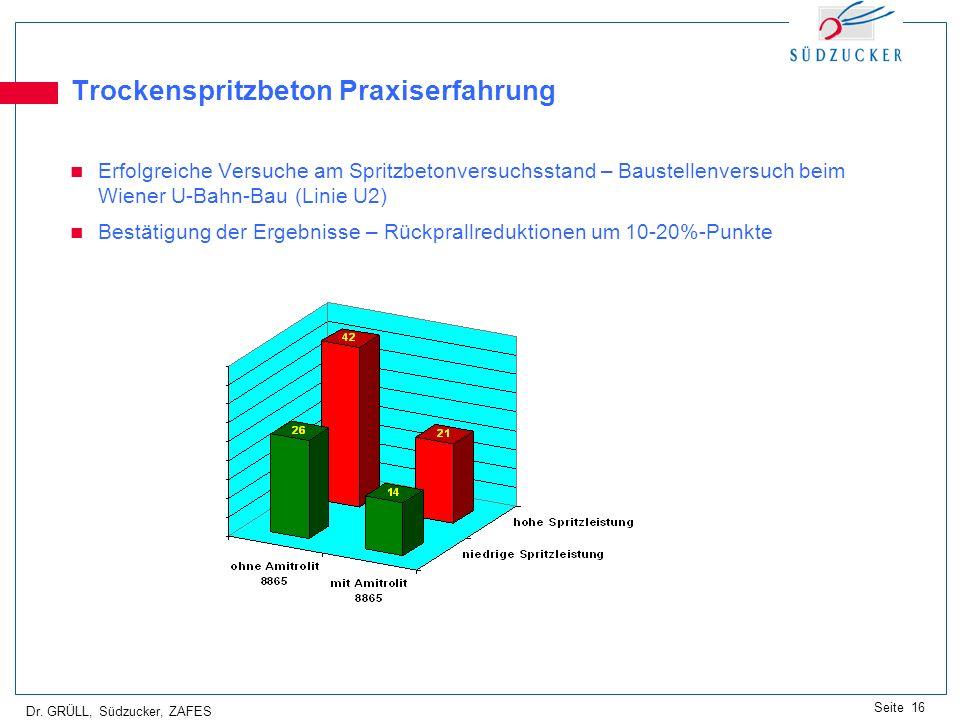 Dr. GRÜLL, Südzucker, ZAFES Seite 16 Trockenspritzbeton Praxiserfahrung Erfolgreiche Versuche am Spritzbetonversuchsstand – Baustellenversuch beim Wie