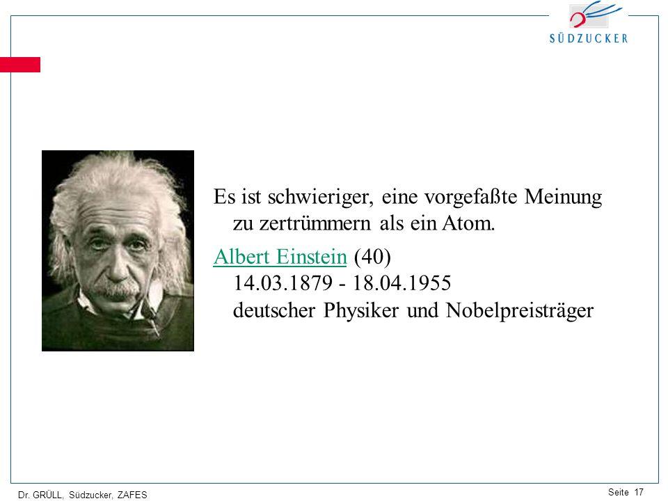 Dr. GRÜLL, Südzucker, ZAFES Seite 17 Es ist schwieriger, eine vorgefaßte Meinung zu zertrümmern als ein Atom. Albert EinsteinAlbert Einstein (40) 14.0