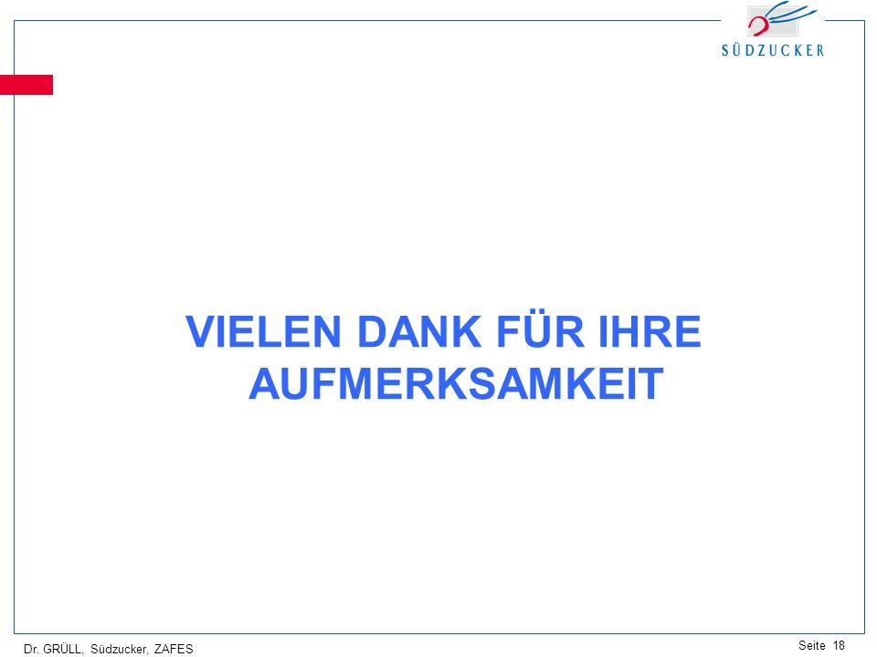 Dr. GRÜLL, Südzucker, ZAFES Seite 18 VIELEN DANK FÜR IHRE AUFMERKSAMKEIT