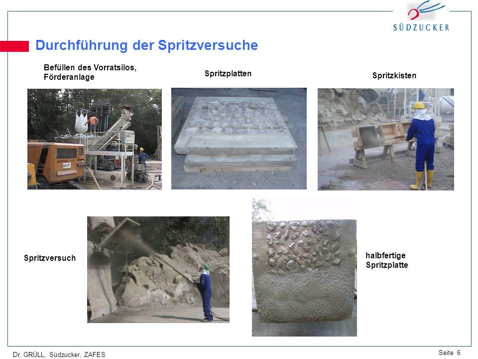 Dr. GRÜLL, Südzucker, ZAFES Seite 6 Durchführung der Spritzversuche Befüllen des Vorratsilos, Förderanlage Spritzplatten Spritzkisten halbfertige Spri