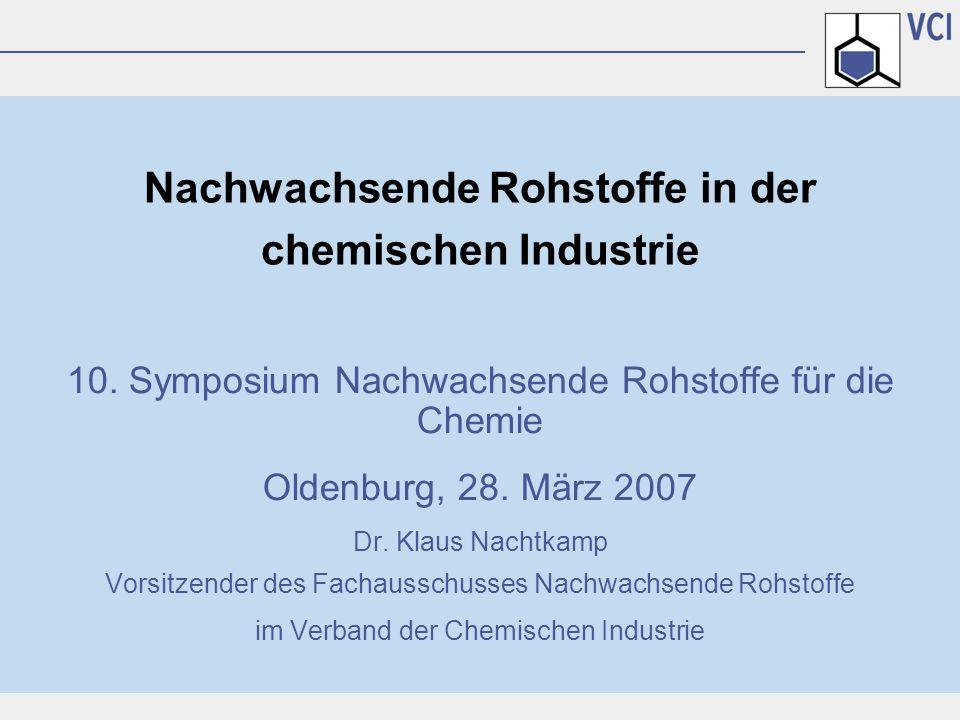 10. Symposium Nachwachsende Rohstoffe für die Chemie Oldenburg, 28. März 2007 Dr. Klaus Nachtkamp Vorsitzender des Fachausschusses Nachwachsende Rohst