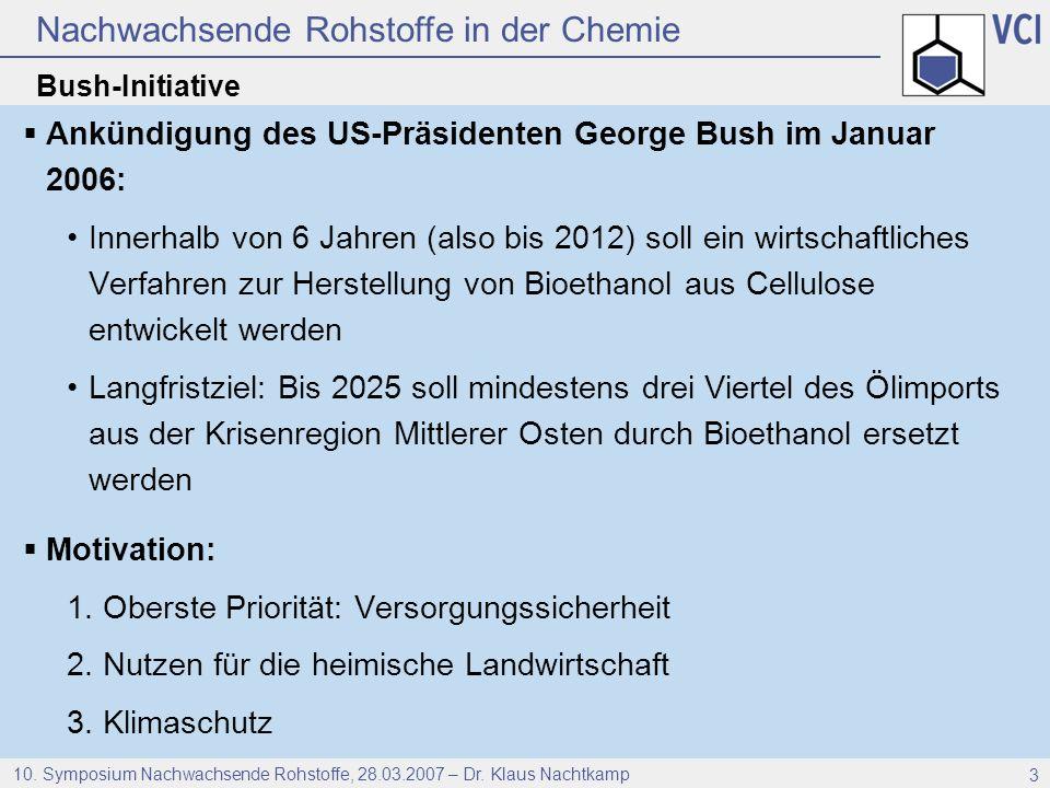 Nachwachsende Rohstoffe in der Chemie 10. Symposium Nachwachsende Rohstoffe, 28.03.2007 – Dr. Klaus Nachtkamp 3 Bush-Initiative Ankündigung des US-Prä