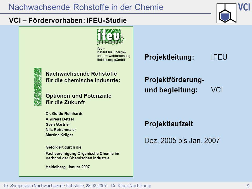 Nachwachsende Rohstoffe in der Chemie 10. Symposium Nachwachsende Rohstoffe, 28.03.2007 – Dr. Klaus Nachtkamp 9 Projektleitung:IFEU Projektförderung-