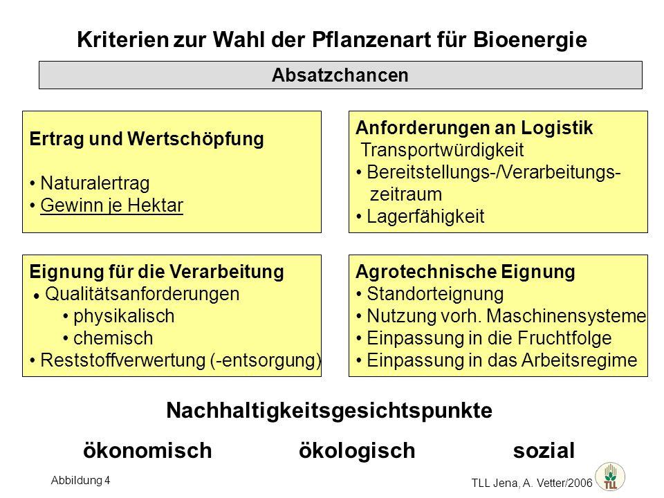 TLL Jena, A. Vetter/2006 Kriterien zur Wahl der Pflanzenart für Bioenergie Absatzchancen Ertrag und Wertschöpfung Naturalertrag Gewinn je Hektar Anfor