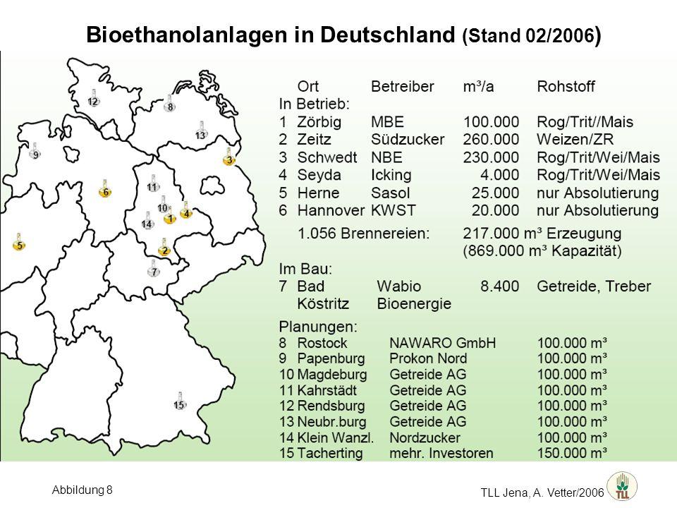 TLL Jena, A. Vetter/2006 Bioethanolanlagen in Deutschland (Stand 02/2006 ) Abbildung 8