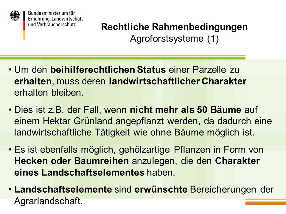 Rechtliche Rahmenbedingungen Agroforstsysteme (2) Landschaftselemente werden deshalb nicht aus der prämienfähigen Fläche herausgerechnet.