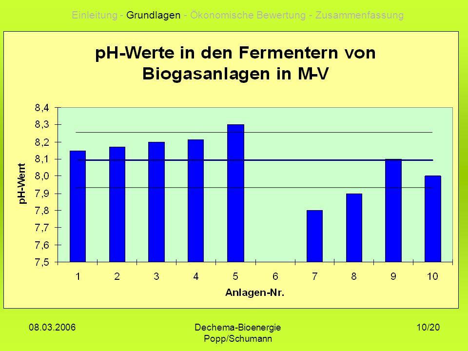 Dechema-Bioenergie Popp/Schumann 08.03.2006 10/20 Einleitung - Grundlagen - Ökonomische Bewertung - Zusammenfassung