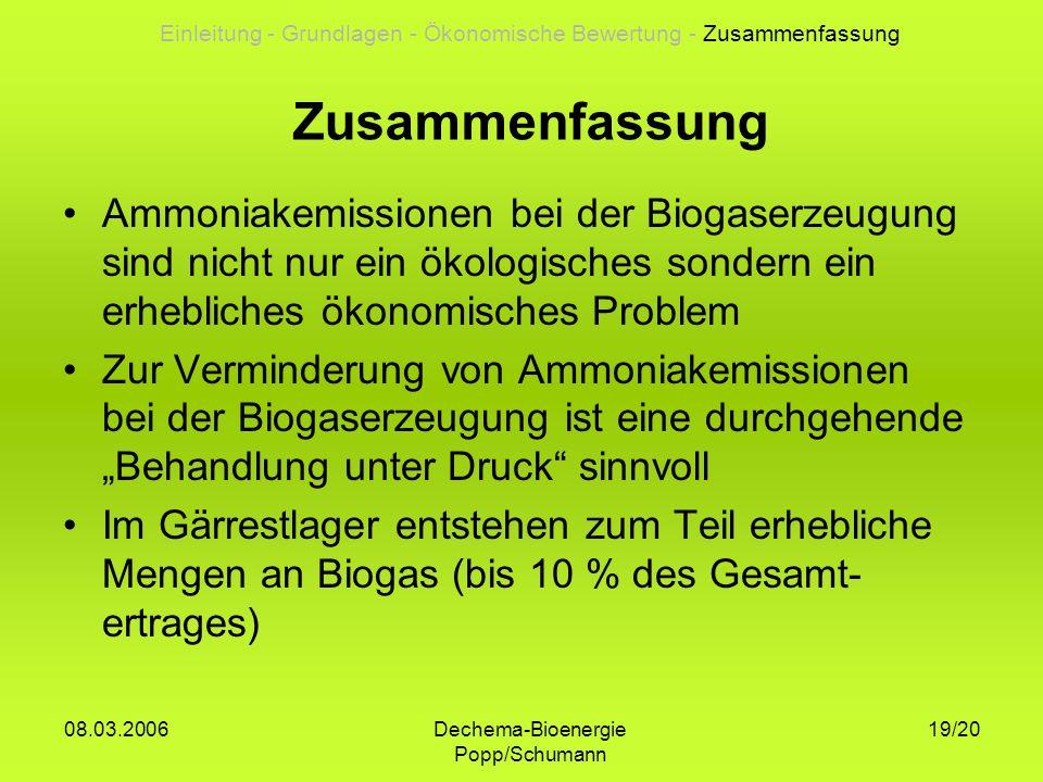 Dechema-Bioenergie Popp/Schumann 08.03.2006 19/20 Zusammenfassung Ammoniakemissionen bei der Biogaserzeugung sind nicht nur ein ökologisches sondern e