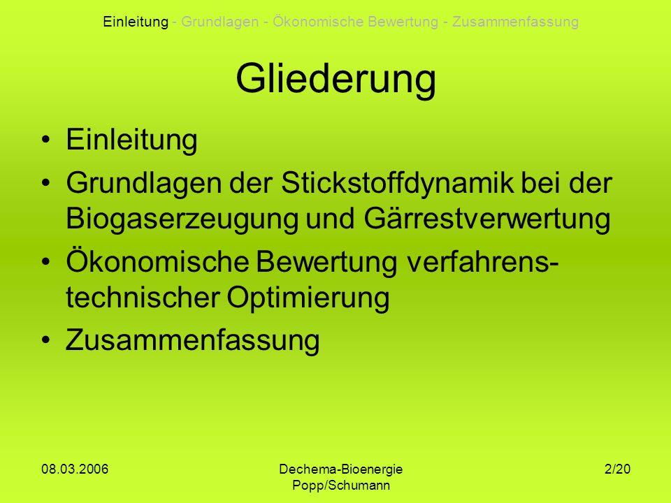 Dechema-Bioenergie Popp/Schumann 08.03.2006 2/20 Gliederung Einleitung Grundlagen der Stickstoffdynamik bei der Biogaserzeugung und Gärrestverwertung