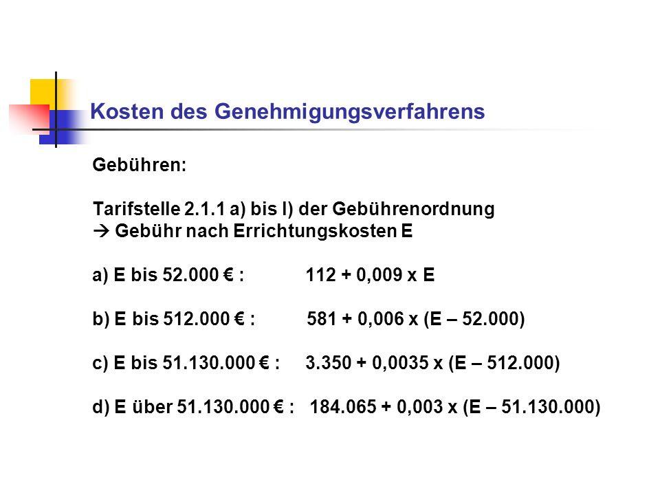 Kosten des Genehmigungsverfahrens Gebühren: Tarifstelle 2.1.1 a) bis l) der Gebührenordnung Gebühr nach Errichtungskosten E a) E bis 52.000 : 112 + 0,