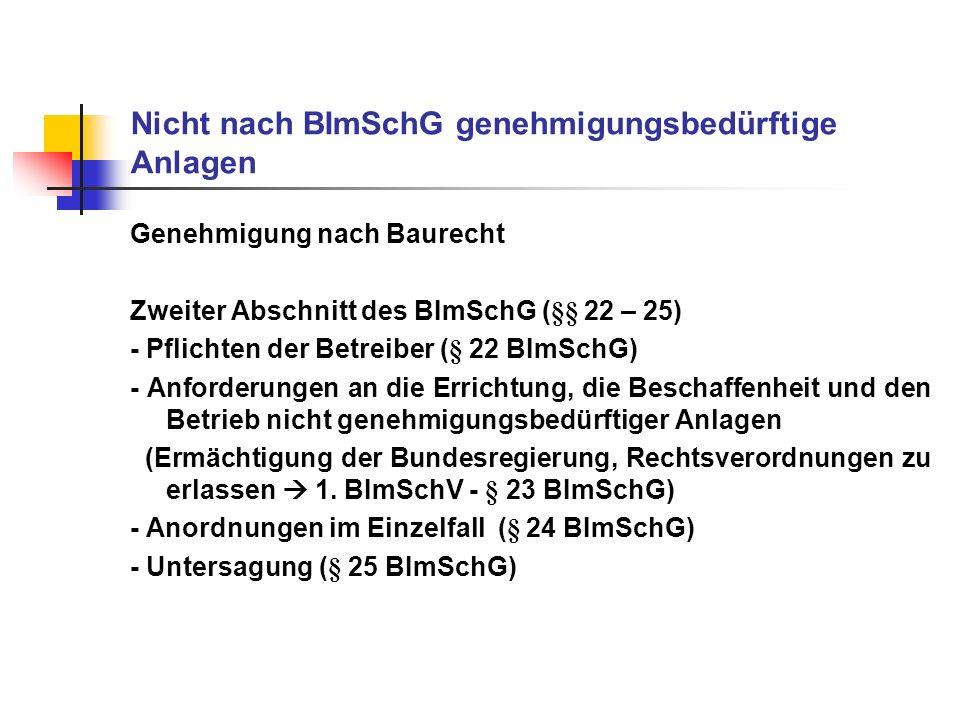 Nicht nach BImSchG genehmigungsbedürftige Anlagen Genehmigung nach Baurecht Zweiter Abschnitt des BImSchG (§§ 22 – 25) - Pflichten der Betreiber (§ 22