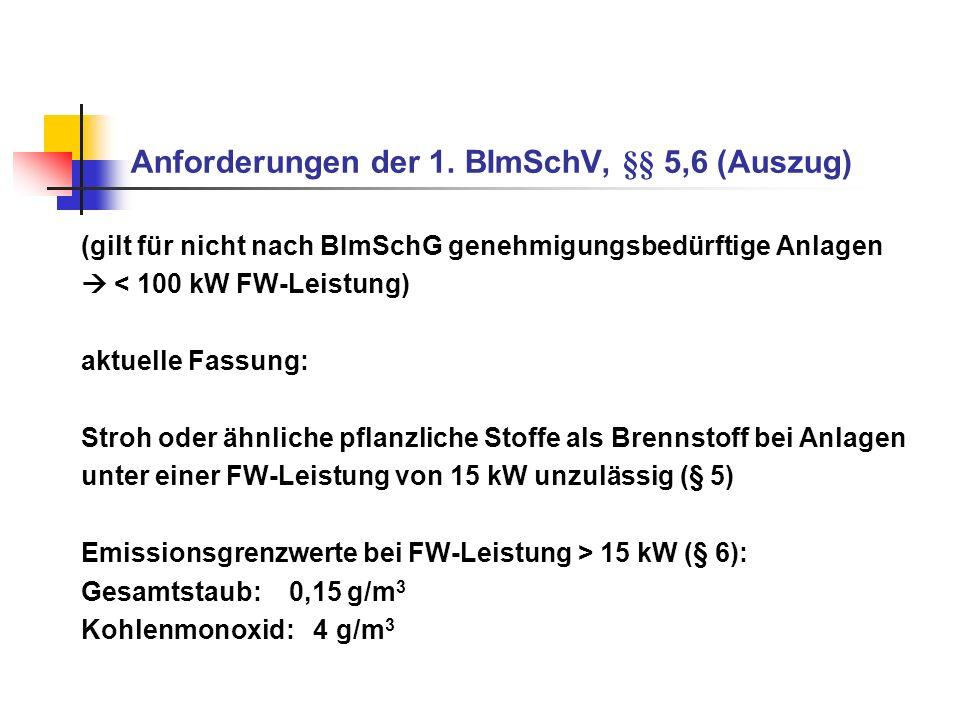 Anforderungen der 1. BImSchV, §§ 5,6 (Auszug) (gilt für nicht nach BImSchG genehmigungsbedürftige Anlagen < 100 kW FW-Leistung) aktuelle Fassung: Stro