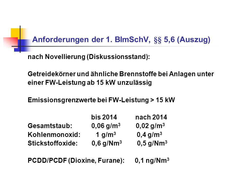 Anforderungen der 1. BImSchV, §§ 5,6 (Auszug) nach Novellierung (Diskussionsstand): Getreidekörner und ähnliche Brennstoffe bei Anlagen unter einer FW