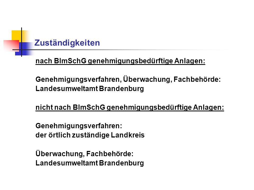 Zuständigkeiten nach BImSchG genehmigungsbedürftige Anlagen: Genehmigungsverfahren, Überwachung, Fachbehörde: Landesumweltamt Brandenburg nicht nach B