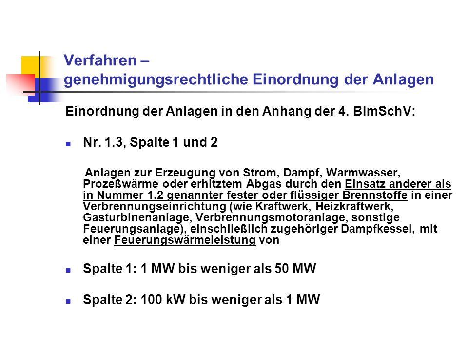 Verfahren – genehmigungsrechtliche Einordnung der Anlagen Verfahrensart abhängig von Feuerungswärmeleistung: > 50 MW: wohl nicht relevant (dann Nr.