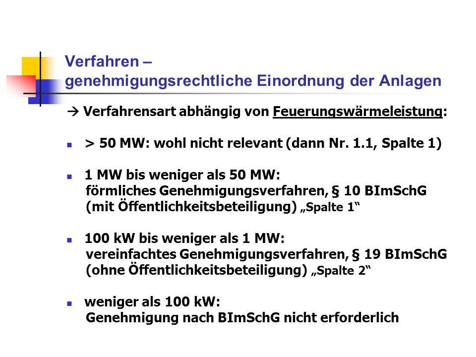 Verfahren – genehmigungsrechtliche Einordnung der Anlagen Verfahrensart abhängig von Feuerungswärmeleistung: > 50 MW: wohl nicht relevant (dann Nr. 1.