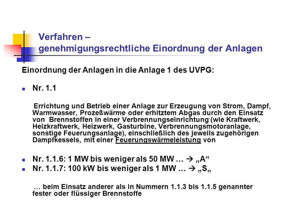 Verfahren – genehmigungsrechtliche Einordnung der Anlagen Notwendigkeit einer Umweltverträglichkeitsprüfung abhängig von der Feuerungswärmeleistung: 1 MW bis weniger als 50 MW: allgemeine Vorprüfung des Einzelfalls (A), … 100 kW bis weniger als 1 MW: standortbezogene Vorprüfung des Einzelfalls (S), … …, ob eine Umweltverträglichkeitsprüfung durchzuführen ist weniger als 100 kW: keine Umweltverträglichkeitsprüfung erforderlich